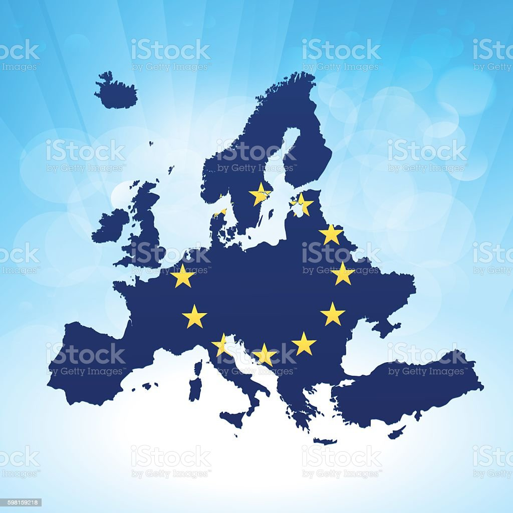 Europe flag map on bright sky blue rays background vector art illustration