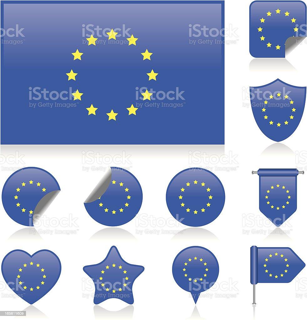 Europe flag set royalty-free stock vector art