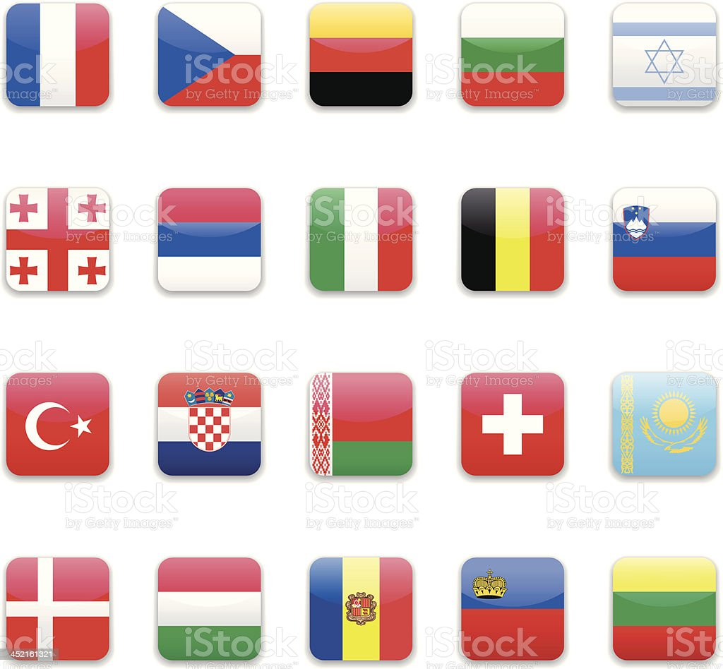 Europe flags icon set royalty-free stock vector art
