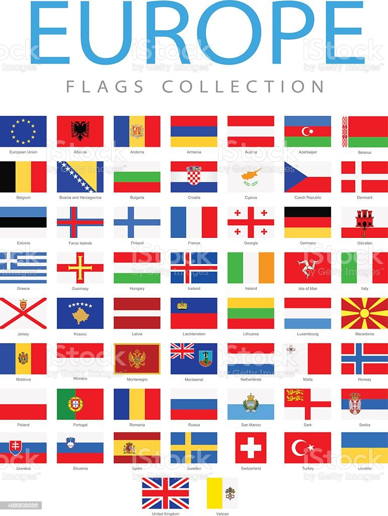 Europe - Flags - Illustration vector art illustration