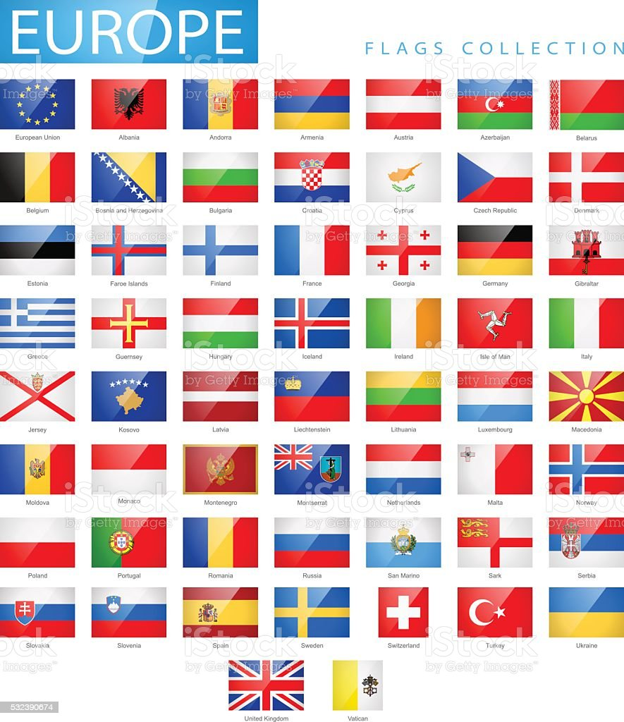 Europe - Flat Glossy Rectangle Flag Icons - Illustration vector art illustration