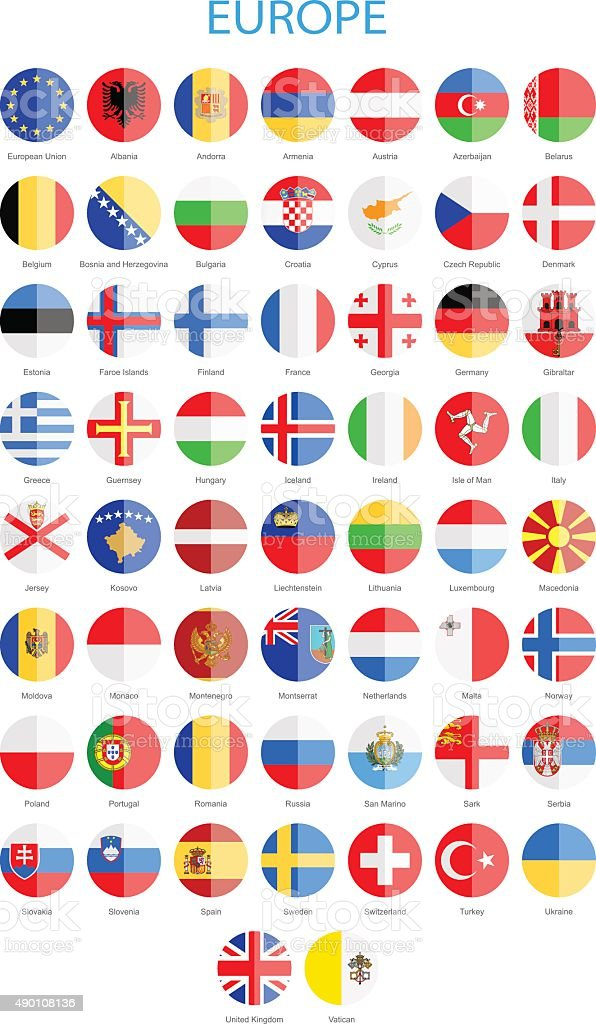 Europe - Flat Round Flags - Illustration vector art illustration