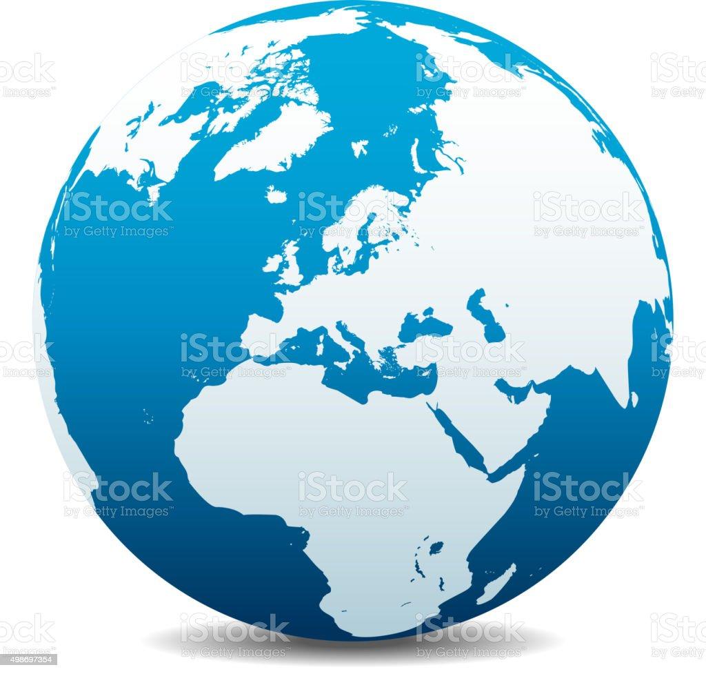 Europe Global World vector art illustration