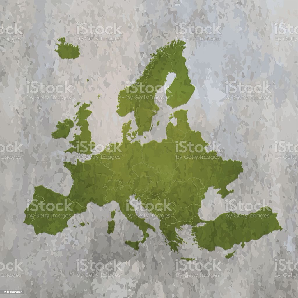 Europe green grunge map on old wall background vector art illustration