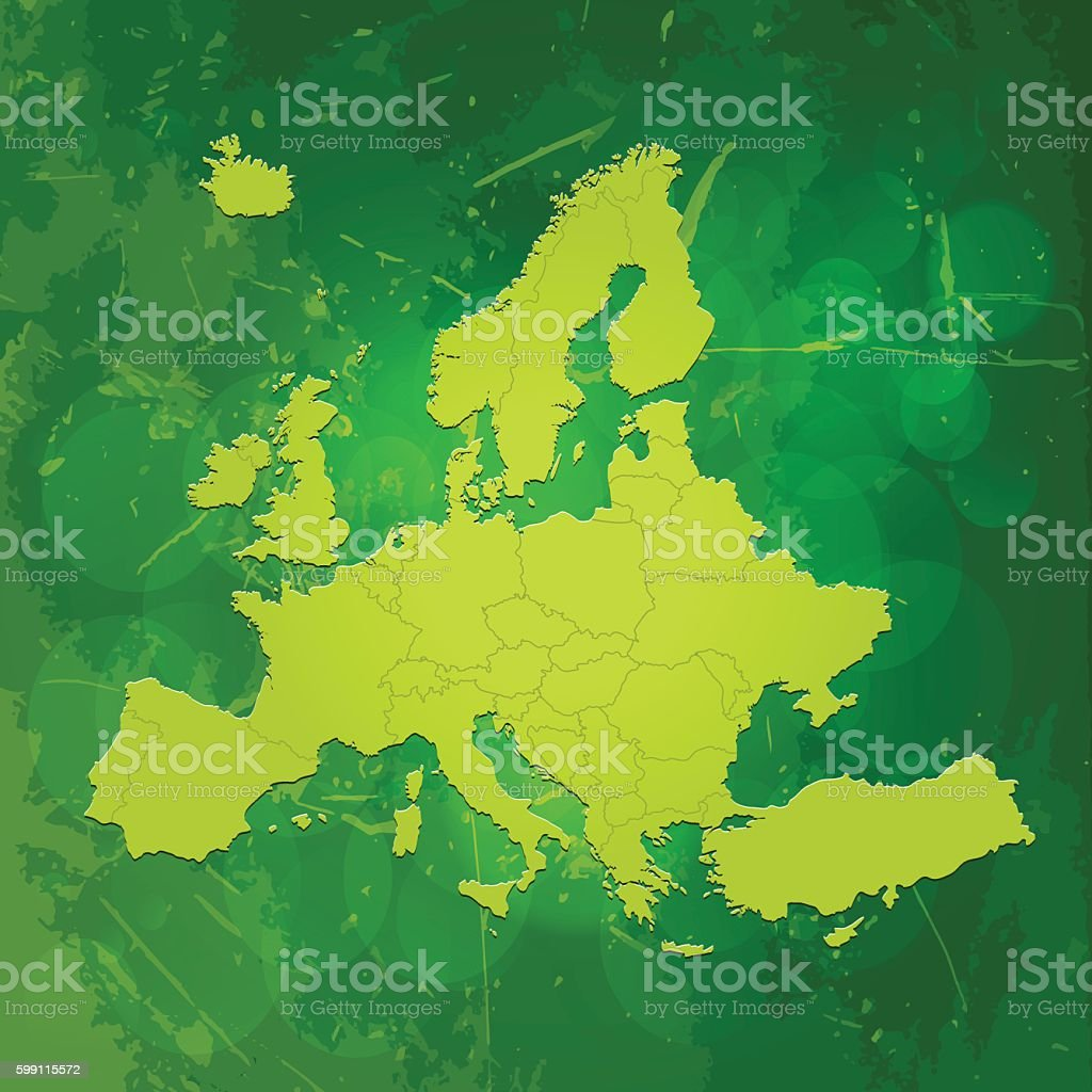 Europe green map on scratchy metal background vector art illustration