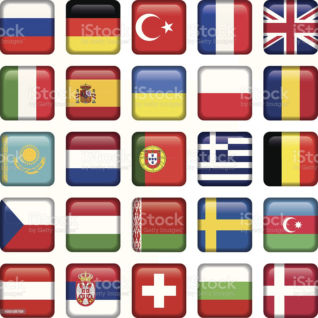 Europe Icons Squared Flags royalty-free stock vector art