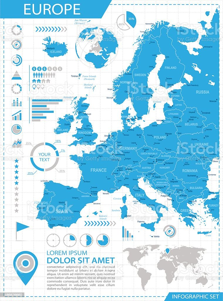 Europe - infographic map - Illustration vector art illustration