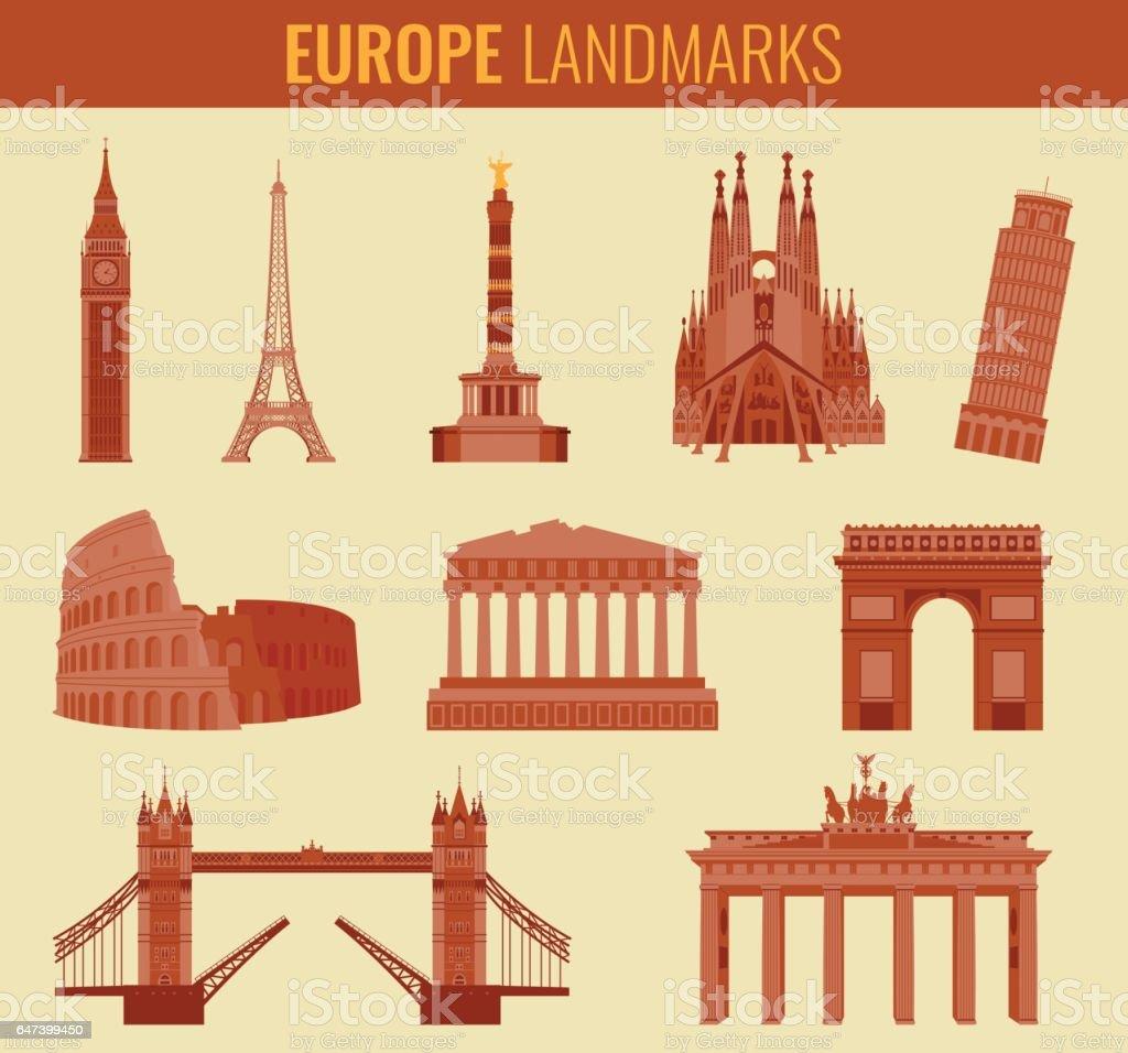 Europe landmarks flat icon set. Travel and Tourism. Vector vector art illustration