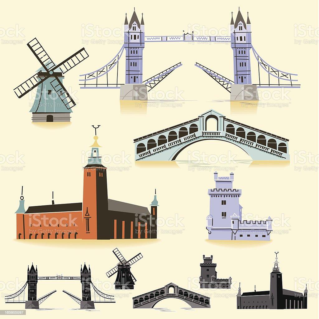 Europe Landmarks vector art illustration