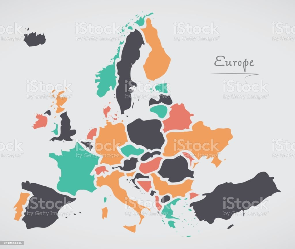 Europe Mainland Map with states and modern round shapes vector art illustration