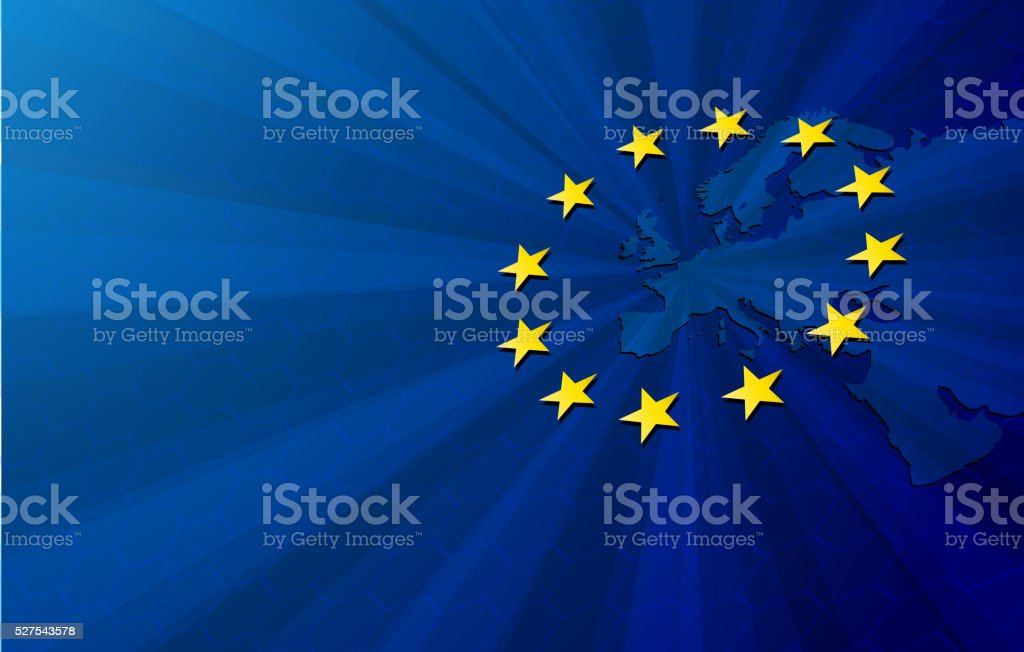 Europe map and European union flag vector art illustration
