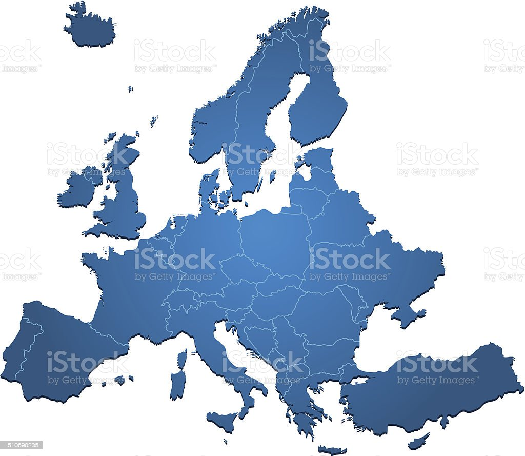 Europe map blue on white backgrpund vector art illustration
