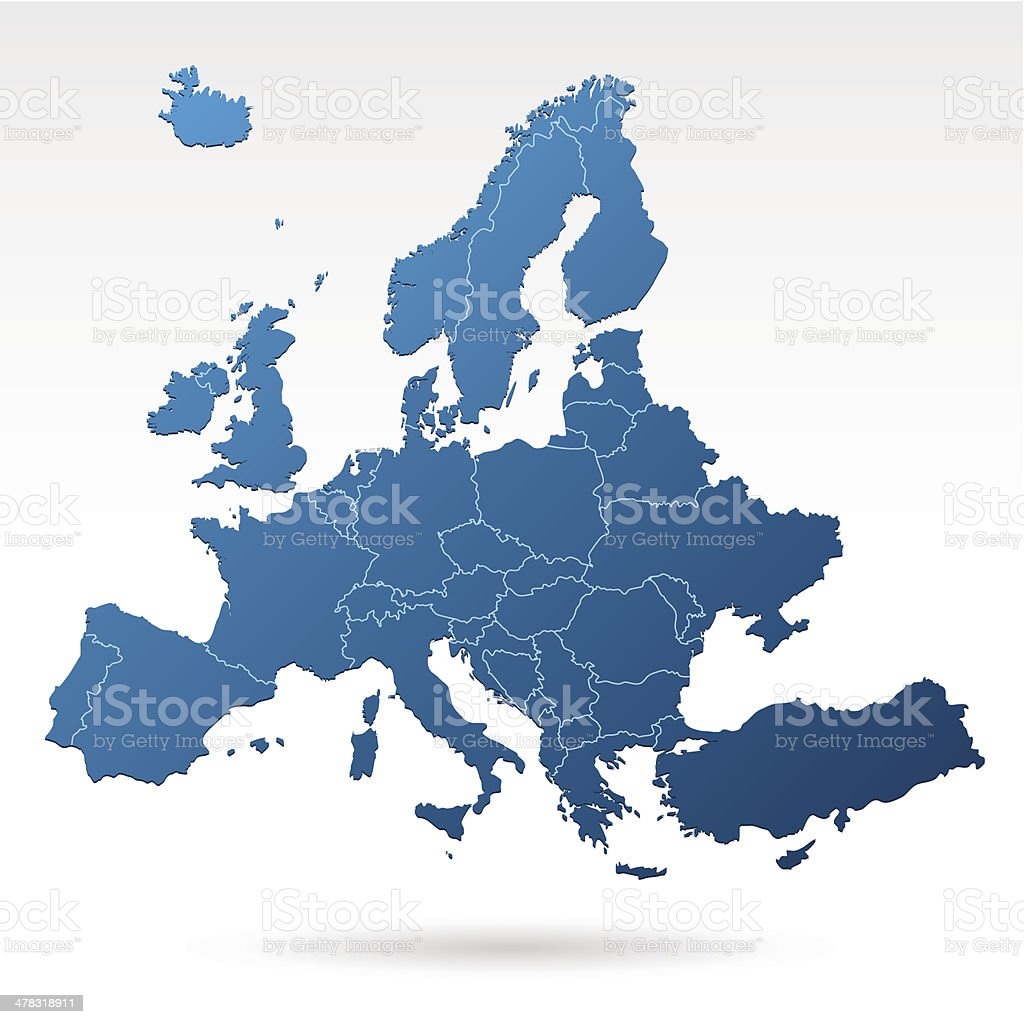 Europe map blue vector art illustration