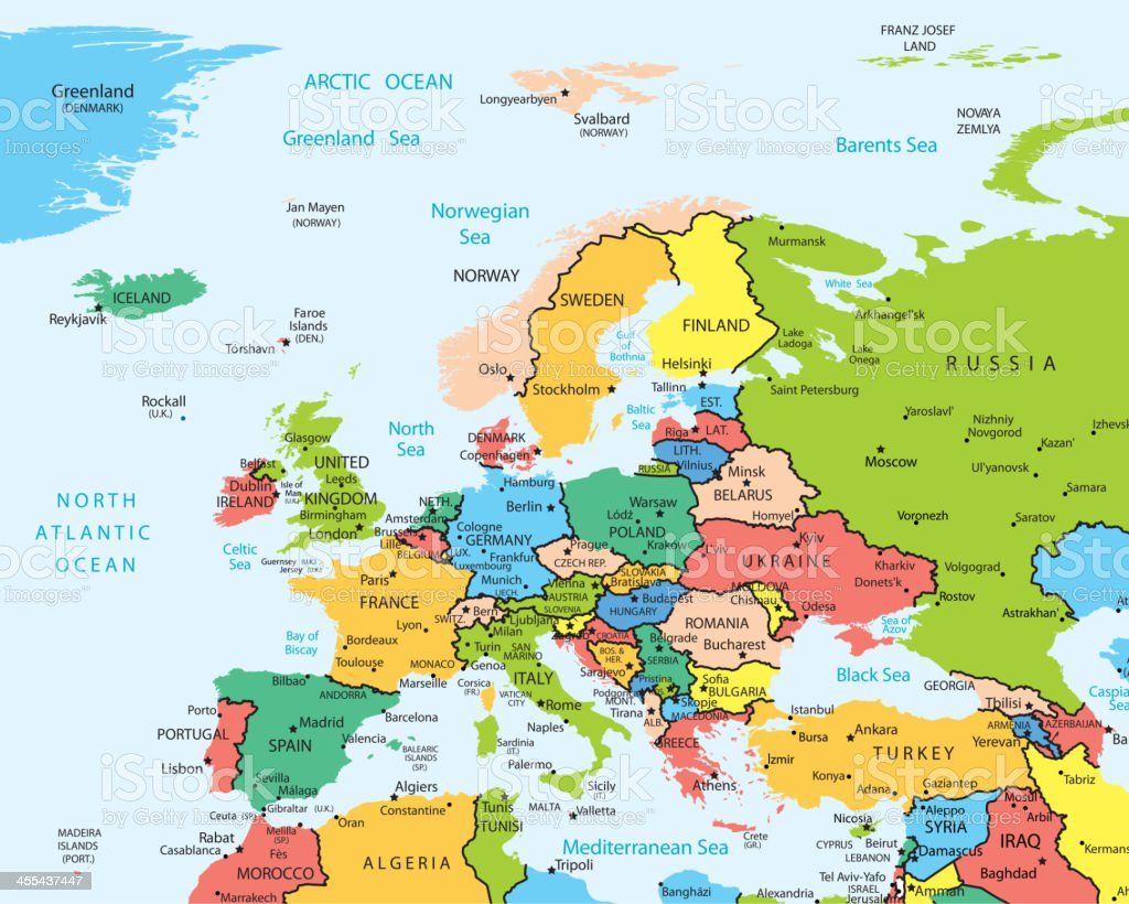 Europe map countries and cities royalty-free stock vector art