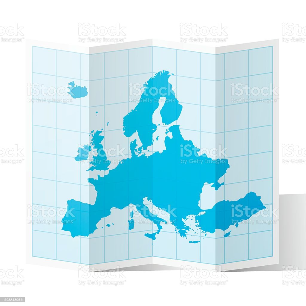 Europe Map folded, isolated on white Background vector art illustration