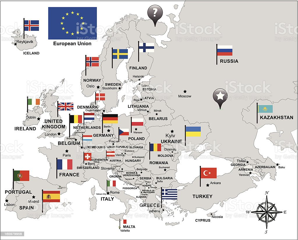Free Maps And Flags Icons: Europe Map In Gray With Flags And Pin Icons Stock Vector