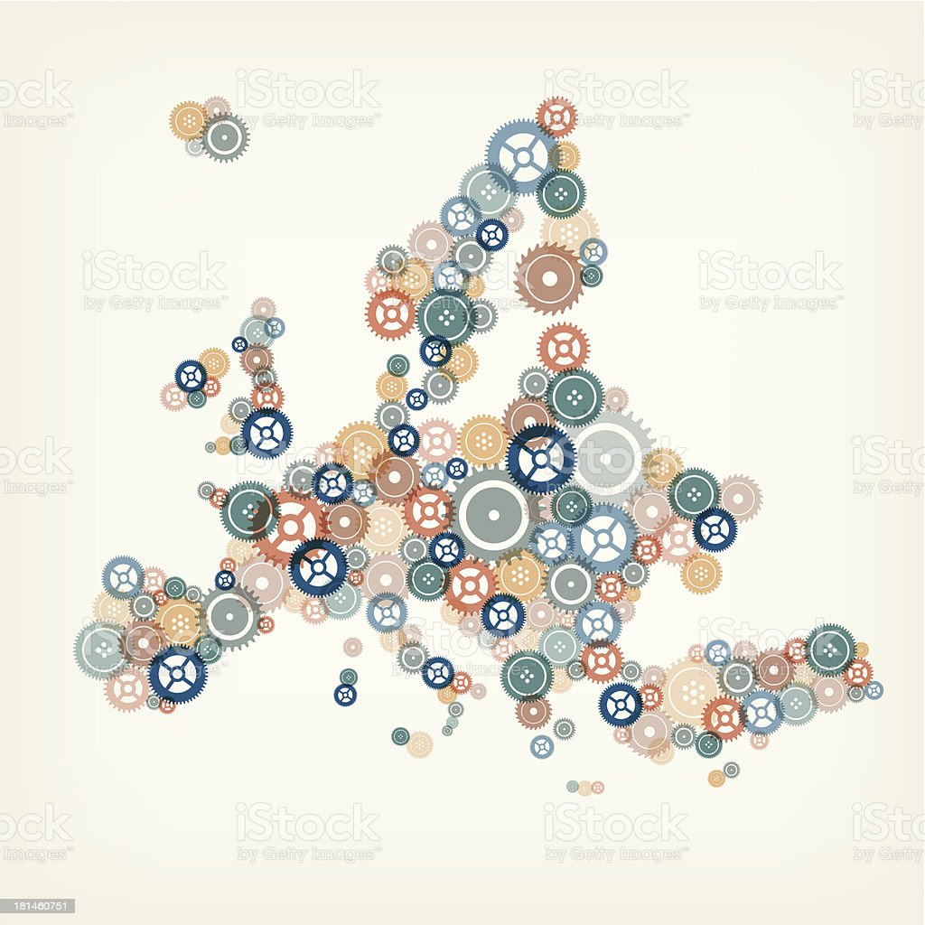 Europe map made of gears royalty-free stock vector art