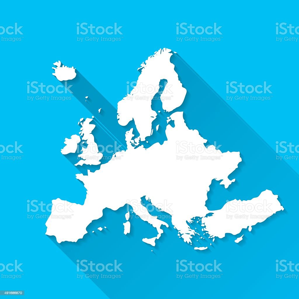 Europe Map on Blue Background, Long Shadow, Flat Design vector art illustration