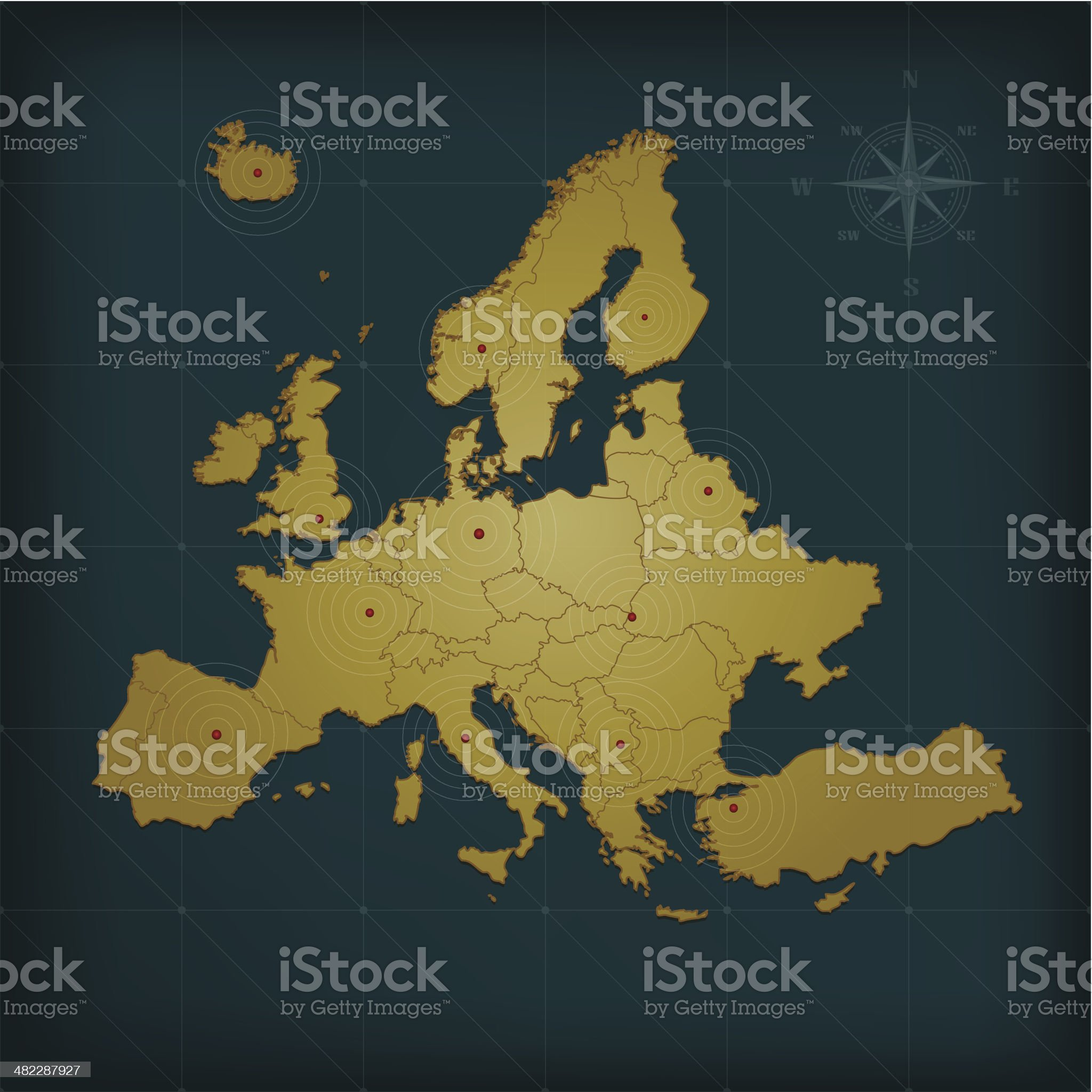 Europe map on dark background with grid and markers royalty-free stock vector art