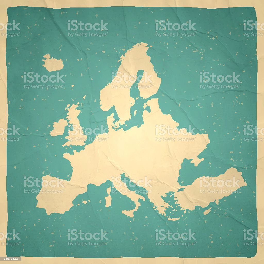 Europe Map on old paper - vintage texture vector art illustration