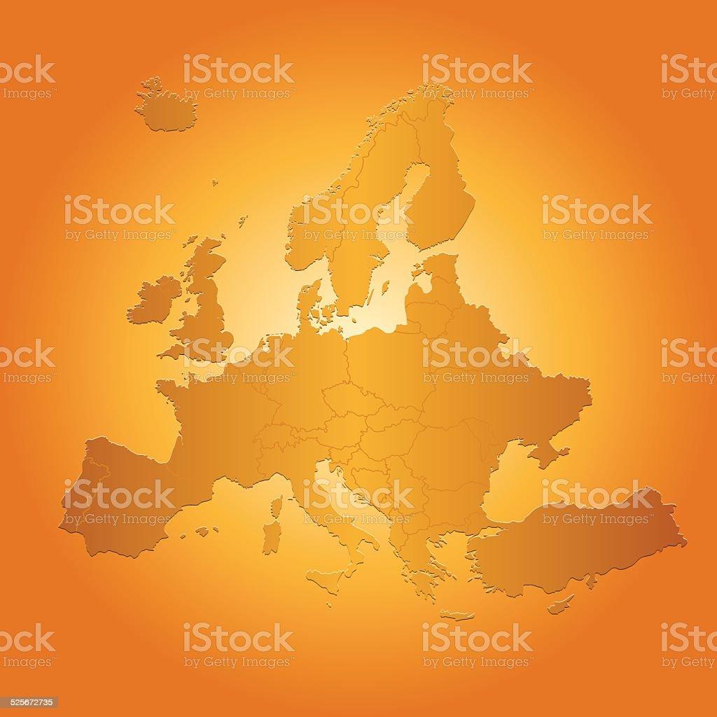 Europe map on orange sunny background vector art illustration