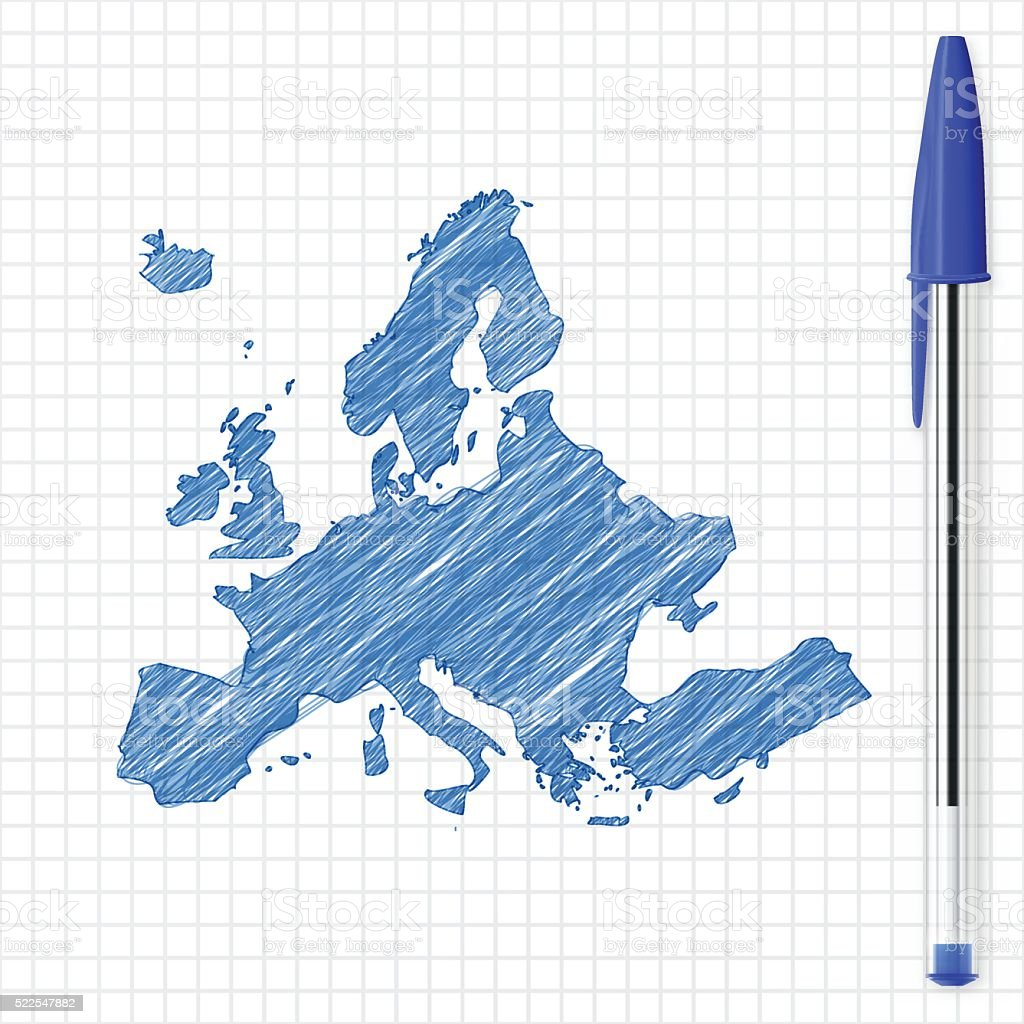 Europe map sketch on grid paper, blue pen vector art illustration