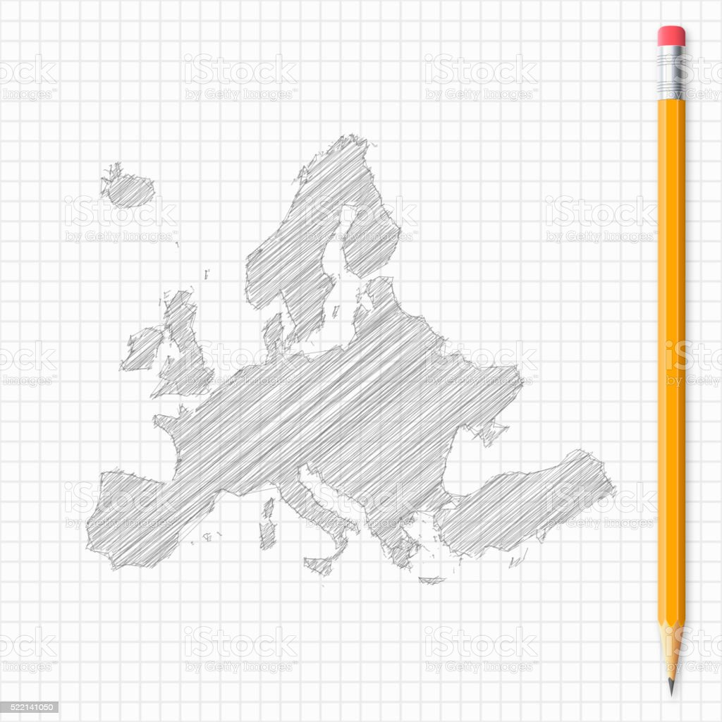 Europe map sketch with pencil on grid paper vector art illustration