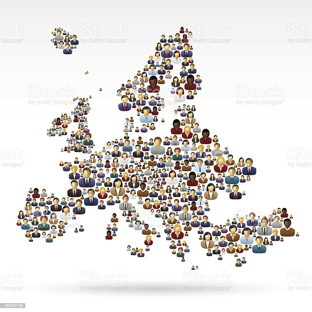 Europe map with business people vector art illustration