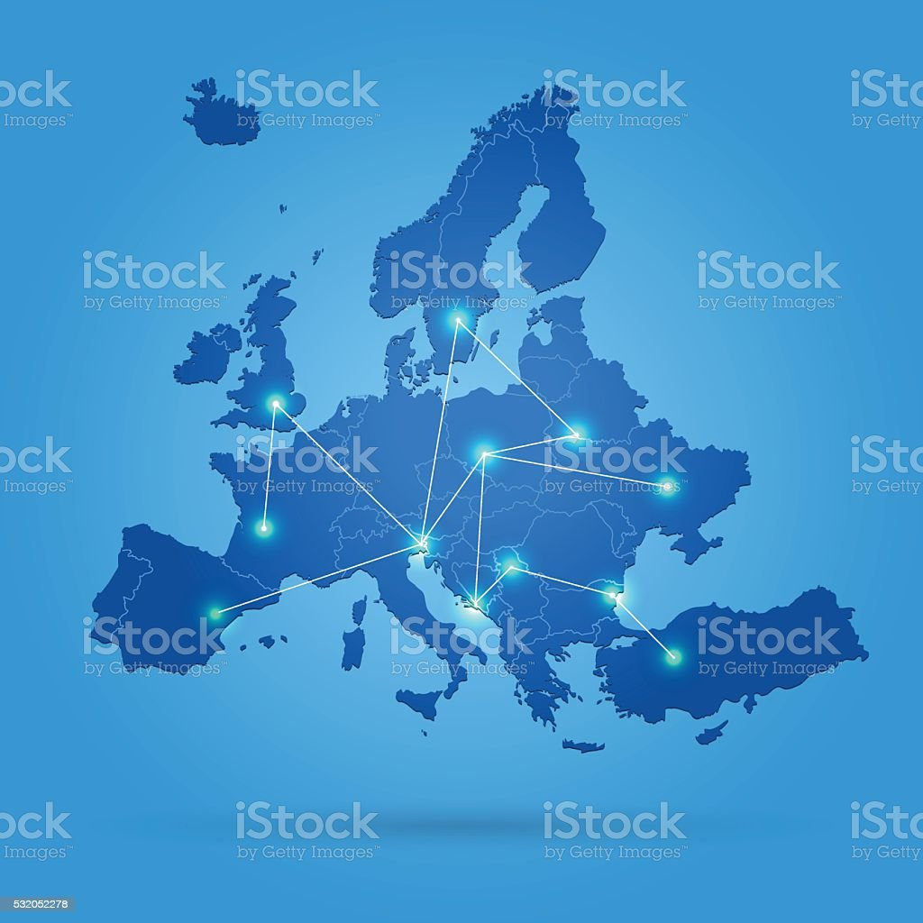 Europe map with connected cities on sky blue background vector art illustration