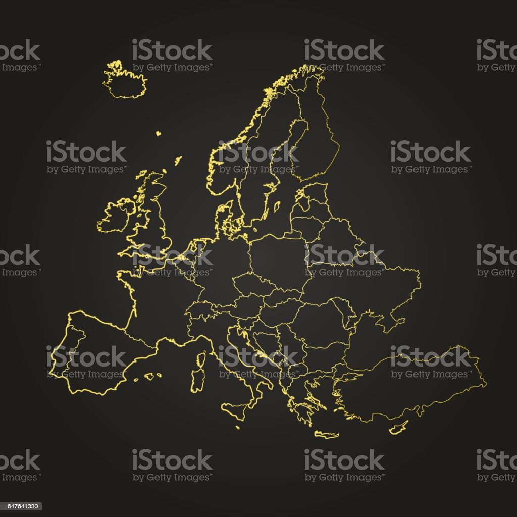 Europe night glow scribbled map on grey background vector art illustration