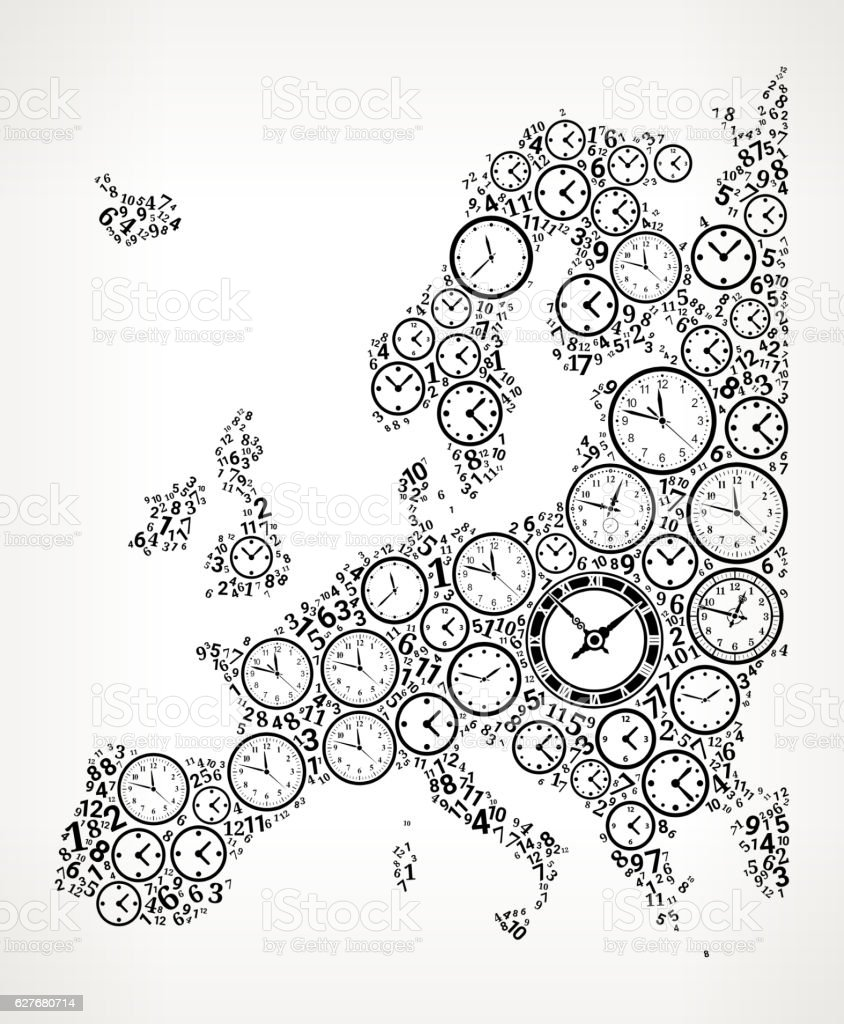 Europe on Time and Clock Vector Icon Pattern vector art illustration