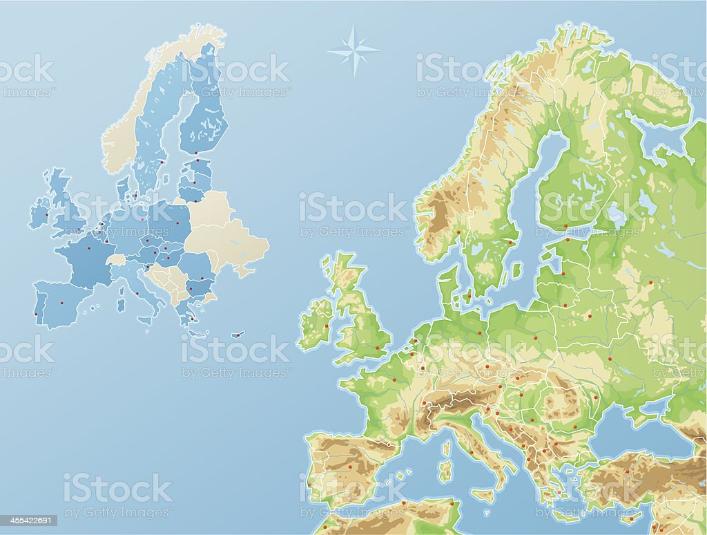Europe - physical map and states of the European Union vector art illustration