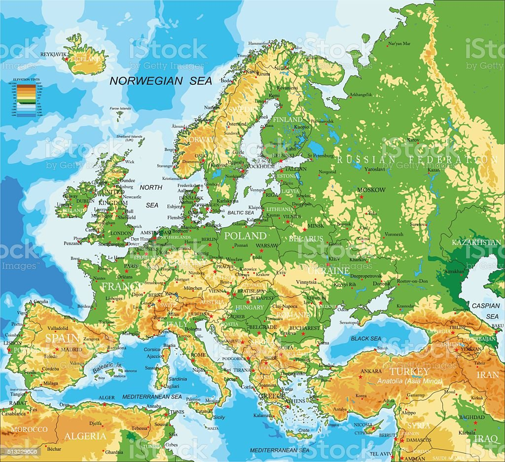 Europe - physical map vector art illustration