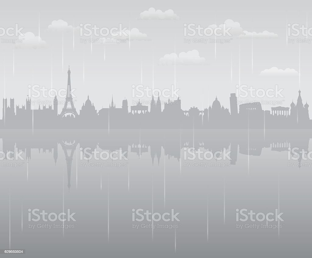 Europe Rain (All Buildings are Complete and Moveable) vector art illustration