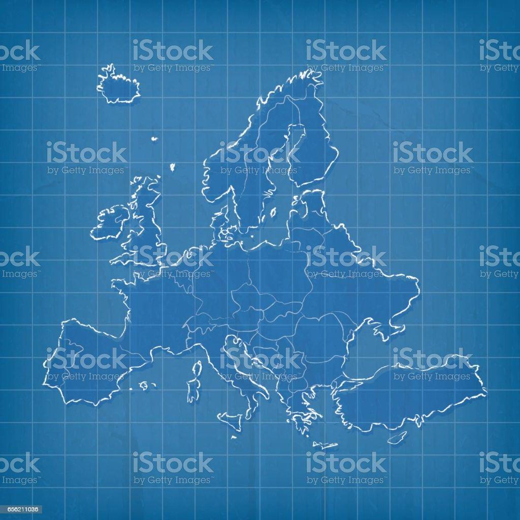 Europe scribbled map on blue paper cardboard grid background vector art illustration