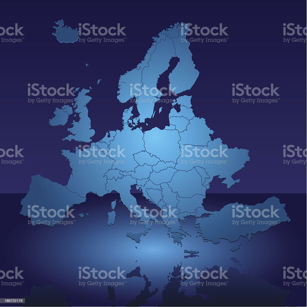 Europe Shiny Blue Map royalty-free stock vector art