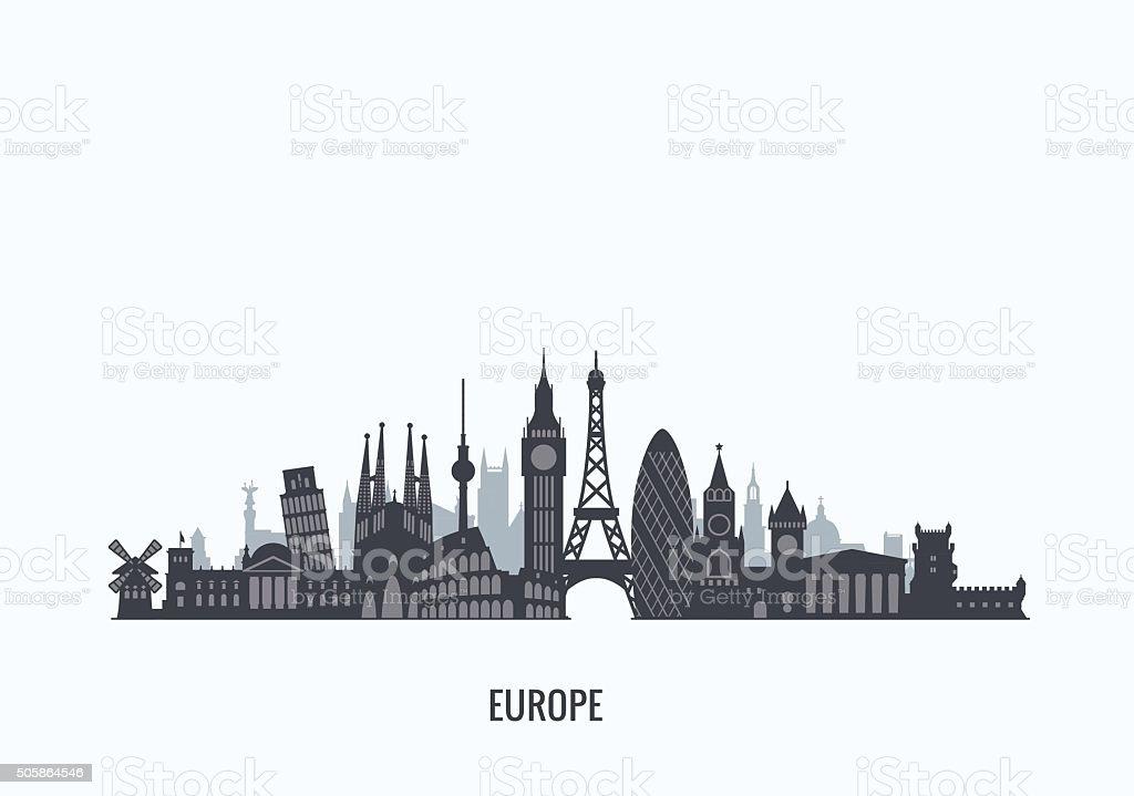 Europe skyline silhouette. vector art illustration