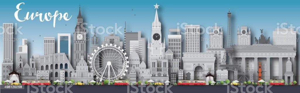 Europe skyline silhouette with different landmarks vector art illustration