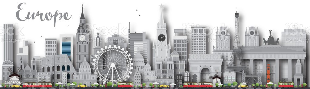 Europe skyline silhouette with different landmarks. vector art illustration