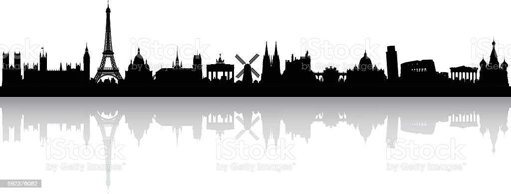 Europe Skyline (Buildings are Detailed, Complete and Moveable) vector art illustration
