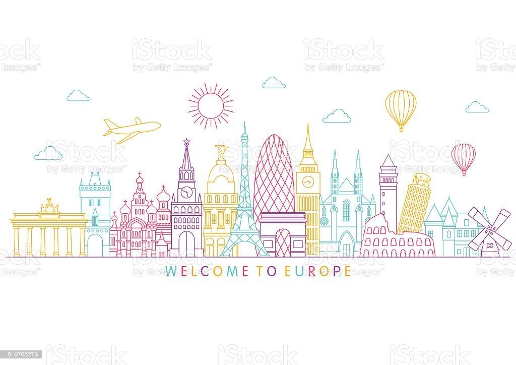 Europe skyline. Vector line illustration. Line style design vector art illustration