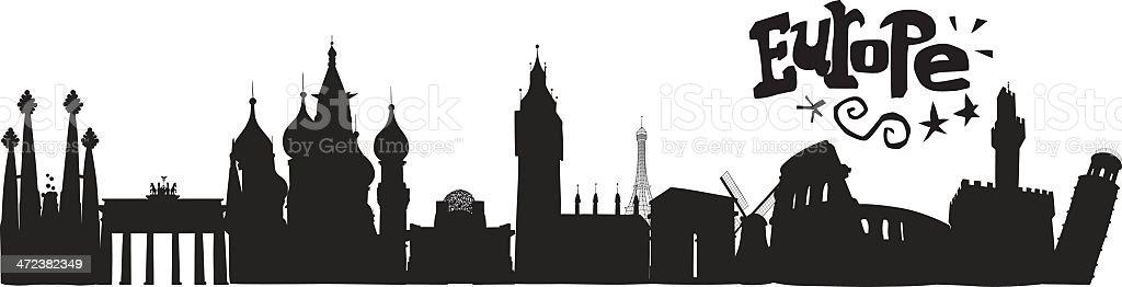 Europe Skyline with lettering vector art illustration