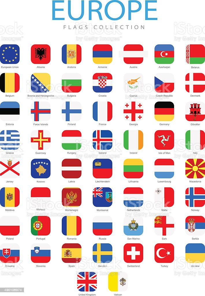 Europe - Square Flag Icons - Illustration vector art illustration