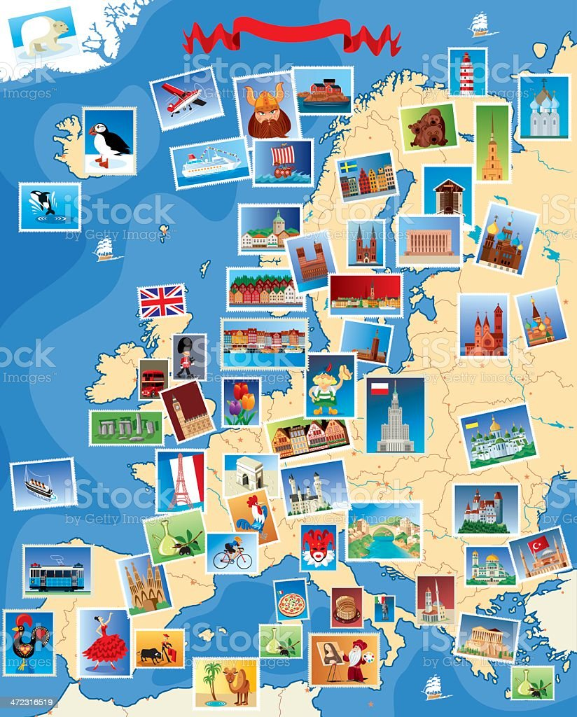 Europe Stamps map royalty-free stock vector art