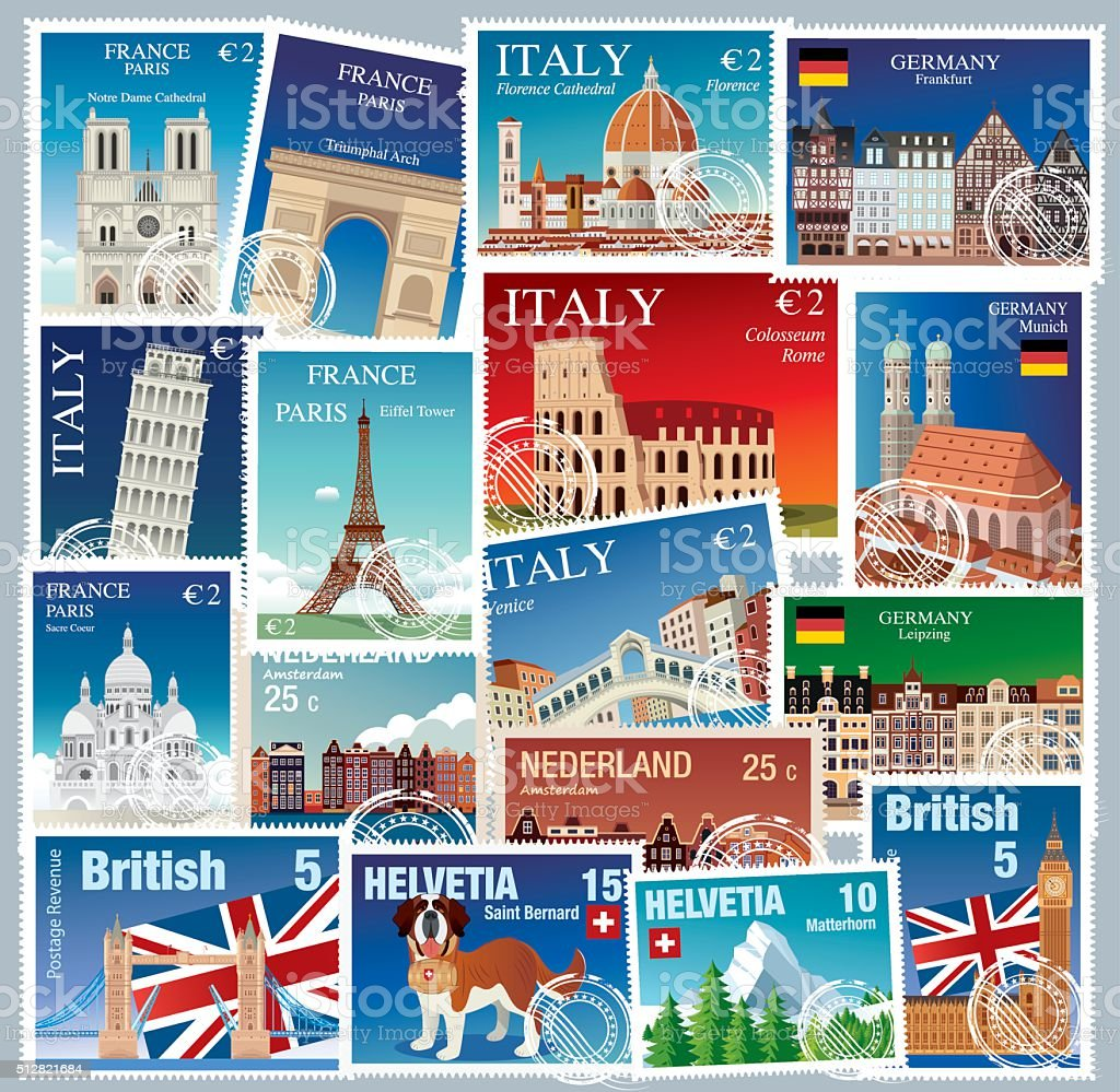 Europe Stamps vector art illustration