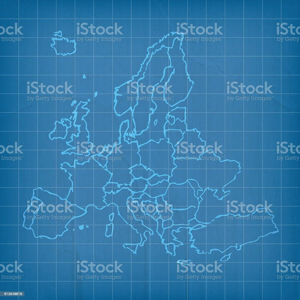 Europe translucent scribbled map on blue cardboard background vector art illustration