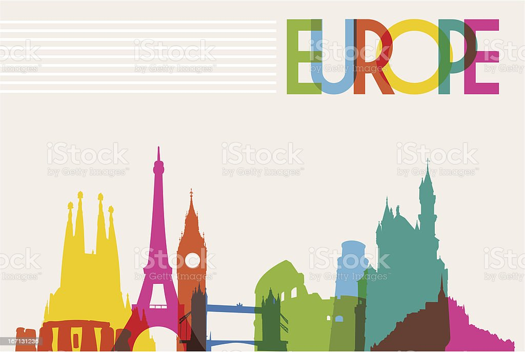 Europe travel background vector art illustration