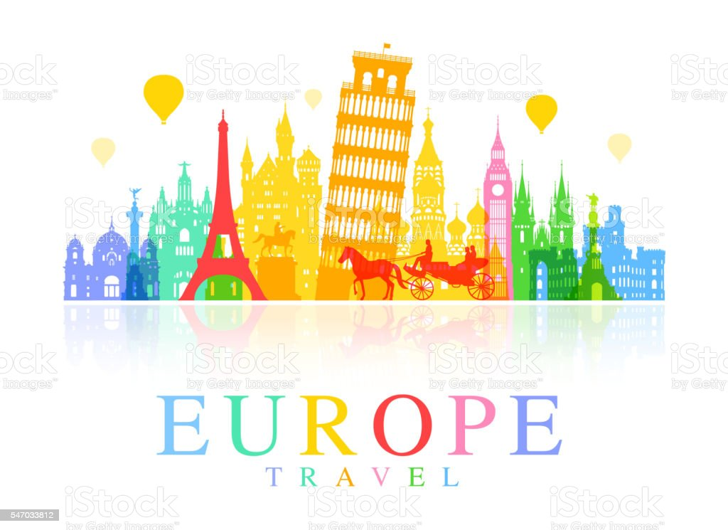 Europe Travel Landmarks. vector art illustration