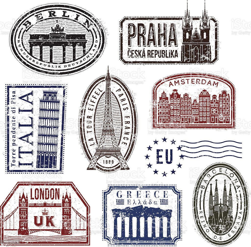 Europe travel rubber stamps vector art illustration