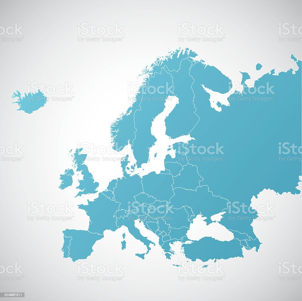 Europe vector map with state borders vector art illustration